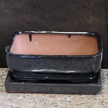 Black Rectangular Pot & Tray
