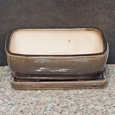 Brown Rectangular Pot & Tray