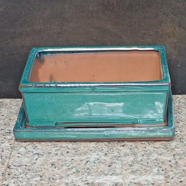 Green Rectangular Pot & Tray
