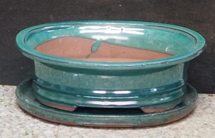 Green Oval Pot & Tray